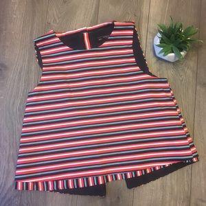 Zara Trafaluc Collection Button Back Striped Top